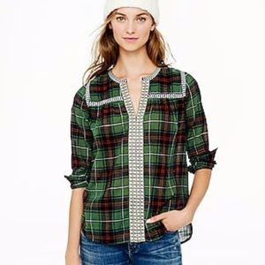 J. Crew Embroidered Peasant Top Plaid 4 R3173